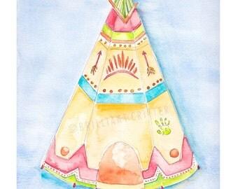 Teepee Nursery Art - Teepee Watercolor Print - Baby Teepee Illustration - Teepee Children's Art - Cowboys and Indians Nursery
