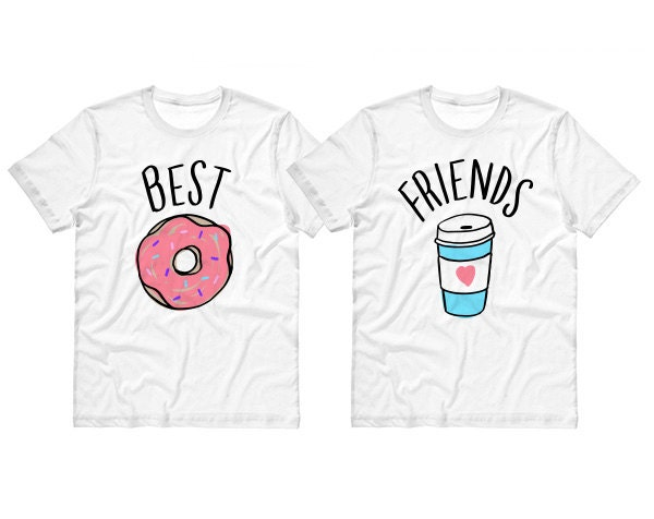 Best Friends Donut And Coffee Duo T Shirt By