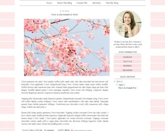 Premade Blogger Template - Simple Clean Pastel  Blog Design - Blog Layout  - Blog Theme