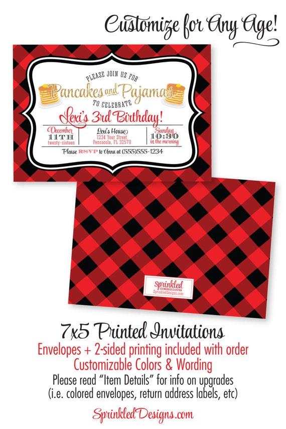 Pancakes and Pajamas Birthday Party Invitation Gold Red