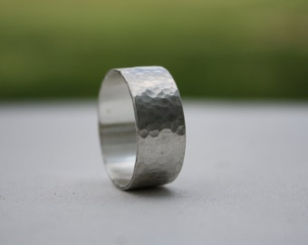 Wide Silver Ring, Men's Silver Band, Wedding Band, Mens Argentium Ring, Unisex Ring, Hammered Silver Ring