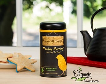 Organic tea, MONDAY MORNING tea blend, herbal coffee, breakfast blend, organic black tea, roasted chicory, vanilla bean
