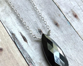 Hematite Necklace, Faceted Gemstone Pendant, Long Silver Chain, Pear Briolette Gray Black Necklace, Hand Made Sterling Silver Jewelry