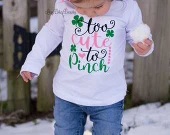 Too Cute To Pinch - Girls St. Patricks Day Shirt - Embroidered - Baby Girls St. Patricks Day Outfit - OTT Headband Or Hair Clip Bow