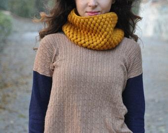 Cowl Scarf for Women Wool Neckwarmer Knit Circle Scarf Mustard Crochet Scarf Infinity Cowl Scarf - Mustard / NIKE
