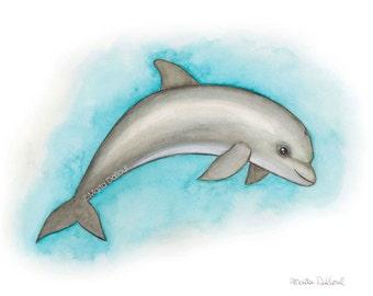 Dolphin art print, under the sea nursery, dolphin watercolor painting, nursery decor, dolphin wall art decor, florida dolphin watercolor art
