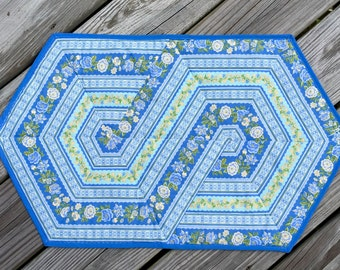 Blue  & yellow floral table runner- Table mat -table topper- 60 degree triangle