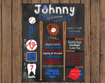 Printable Baseball First Birthday Chalkboard, Baseball Chalkboard Sign, Birthday Chalkboard, First Birthday Chalkboard Sign, Baseball Sign
