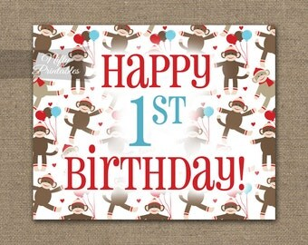 1st Birthday Sign - Sock Monkey Printable Happy First Birthday Sign - Monkey Party Decorations - 1st Birthday Decor - Instant Download SMK
