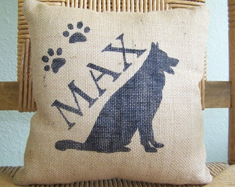 German Shepard pillow, personalized dog pillow, dog lover gift, pet pillow, silhouette pillow, burlap Pillow, FREE SHIPPING!