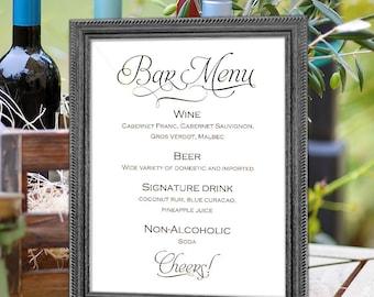 Printable, wedding bar menu sign, bar menu template, instant download, sign for wedding, S1