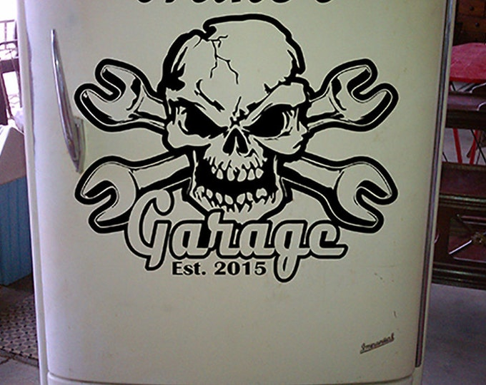 Skull and Crossbone Garage Decal CUSTOM name  established year Vinyl wall Decal sticker Dad's decor wrench mechanics tool box snap-on