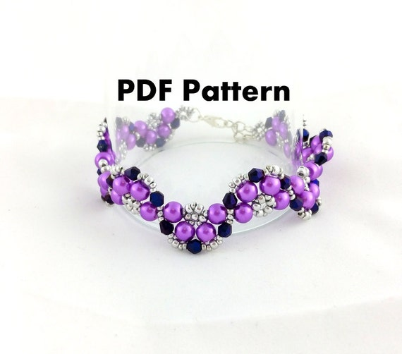 pdf file beading pattern half moon bracelet by
