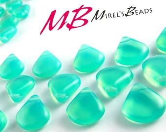 15 pcs Aqua Opaline Czech Glass Beads, 12x11mm Briolette Beads