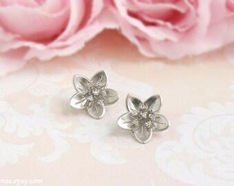 Cherry blossoms post earrings, Silver flower stud earrings, Gold flower jewelry, Dainty flower posts, Cubic zirconia sterling silver earring
