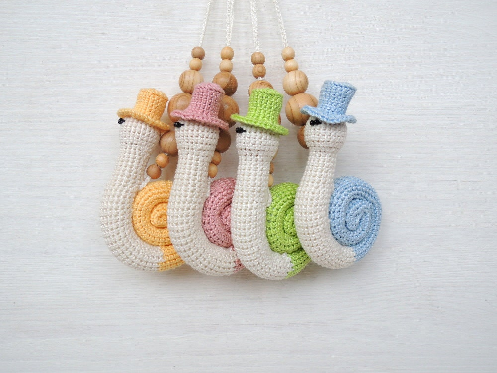 Baby Rattle Toys : Baby gym toy teething rattle crochet stuffed animal