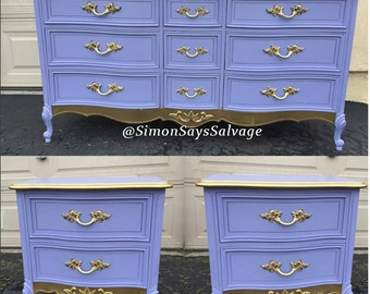 Purple, Gold Dipped French Provincial Bedroom Dresser including Nightstands Bedroom Set