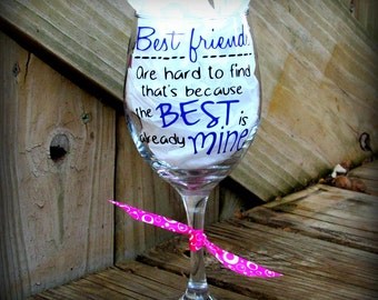 Friend gift best friend gift bff wine glass gifts for