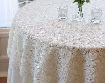 Ivory Lace Tablecloth 60 Inches Round, Lace Table Overlays | Lace Table  Toppers, Wedding