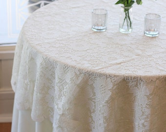 Ivory Lace Tablecloth 60 inches Round, Lace Table Overlays | Lace Table Toppers, Wedding Decorations, Wedding Table Decor