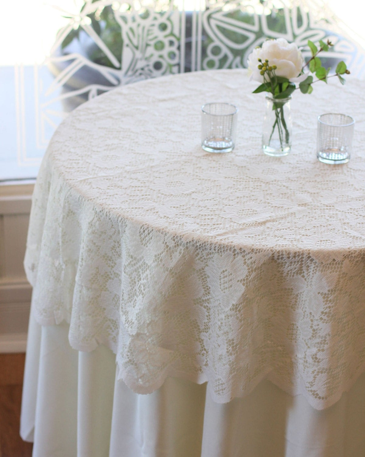 Wedding Tablecloths: Ivory Lace Tablecloth 60 Inches Round Lace Table Overlays