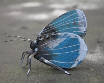 "3"" Holly Blue Butterfly - Scrap Metal Sculpture, Unique Art Work, Scrap Metal Art, Metal Butterfly"