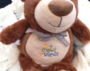 Cubbie, Embroidered Cubbie, Personalized Cubbie- Take along Bear, shower gift, baby gift- made by Atlanta Quilt and Sew