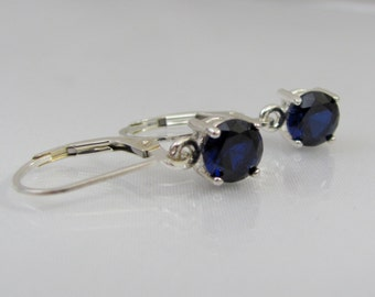 Blue Sapphire Earrings, Sapphire Leverback Earrings, 6mm Sapphire Gemstone, September Birthstone, Sterling Silver, Lab Grown Sapphire,