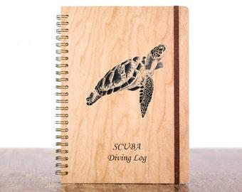 Scuba Diving Logbook, Personalized Dive Log Book, Scuba Diver Gift, Custom Diving Book, Dive Log Book, Octopus, Sea Turtle, Crab, Padi