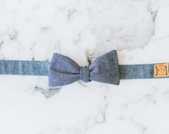 Gray herringbone bow tie, herringbone bow tie, gray cotton bow tie, textured bow tie