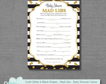 Gold Glitter and Black Stripes Mad Libs Baby Shower Game, Instant Download, Printable, Mad Libs, Baby Mad Libs, Black and Gold, Sparkle, 7G