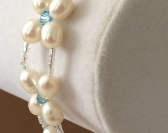 "Sterling Silver Freshwater Pearls And Glass Bead Bracelet 7 1/2"" - 8"""