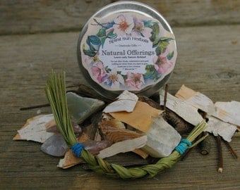 Offerings, Crystals & Herb Ritual Pagan Wicca tin, Nature Gratitude Gifts, Natural items for offering during or after ritual, Forest Items
