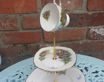 Mad hatter cake stand, 3 tier cake stand, gift for her, teacup topper cake stand, vintage fine china, home gift, wedding decor, tea party.