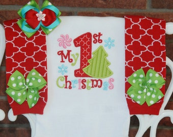 Baby Girl Christmas Outfit! My 1st Christmas outfit for baby girls with applique bodysuit, leg warmers, and hair bow!