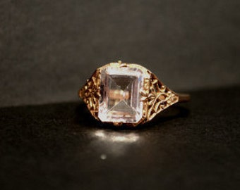 14 kt Rose Gold Ring with Large Crystal and Filigree