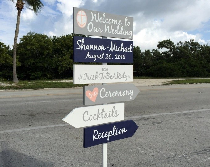 Beach Welcome Wedding Sign, Anchor Wedding Decor Idea, Ceremony Directional Signage, Gift for Couple
