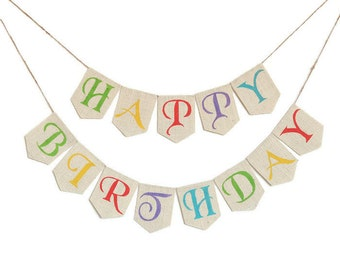 HAPPY BIRTHDAY BANNER Birthday Bunting  Birthday Décor Birthday Banner Birthday Sign Birthday Garland Custom Burlap Banner Birthday Party