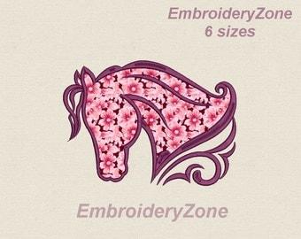 Curls head horse APPLIQUE Embroidery Design. Horse Silhouette. Hoop 4x4 5x7 6x10 7x11.