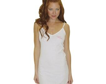 Mrs. Ruffle Chemise, white bride lingerie, white bride chemise, Mrs crystal wedding lingerie, swarovski crystal chemise, bridal shower gift