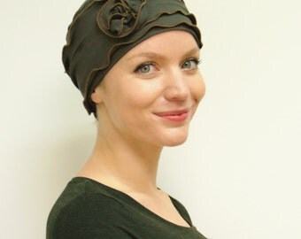 Women's Chemo Hat | Stylish Chemo Headwear | Turbans for Cancer Patients | - soft hat in Olive Green/Copper - avail. in XS S M L XL + cols.