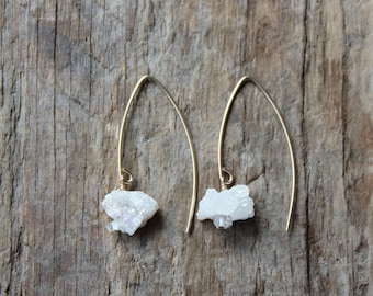 Raw Druzy and Herkimer Diamond Gold Filled Marquise Earrings