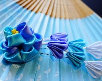 Peony flower Kanzashi hair pin