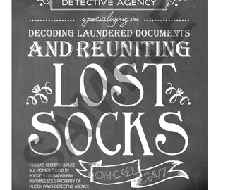Laundry Room Art 8x10 Print / Sign - Lost Socks Reunited Laundry Sign