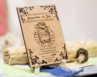 Mason Jar Wedding Invitation Suite 15 Wooden Wedding Invitations, Laser Cut Wedding  Invitation, Unique