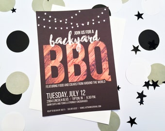 Summer BBQ Cookout Pool Party Invitation