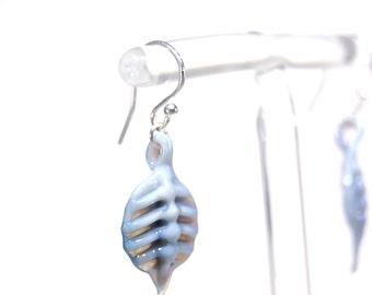 Blue Grey Glass Leaf earrings - Sterling Silver - Handmade