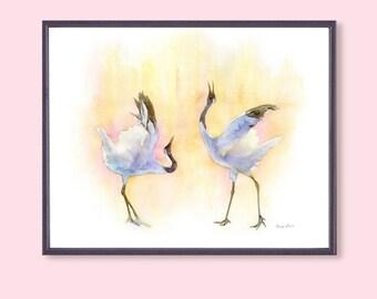 "14""x11"" Bird Print, Love Bird Painting, Love Art Print, Original Watercolor Painting Print, Animal Painting Print, Poster"