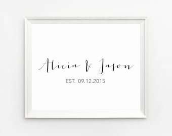 Personalized family name Print, Est sign Anniversary gifts for couples, Family name sign, Couple date, Wedding established sign