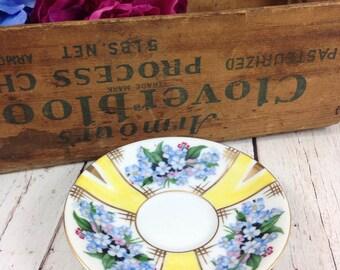 Occupied Japan Saucer,Noritake china,noritake plate,vintage,antique saucer,yellow,blue,blue flowers